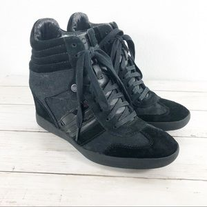 Coach • Black Monogram Wedge Sneaker